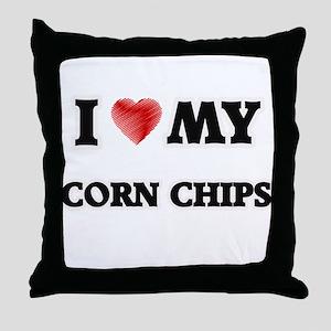 I Love My Corn Chips food design Throw Pillow