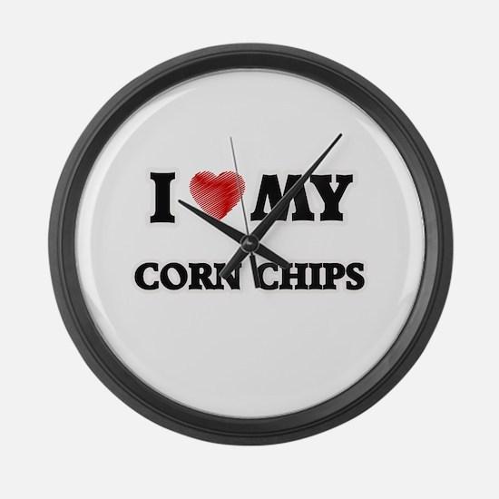 I Love My Corn Chips food design Large Wall Clock