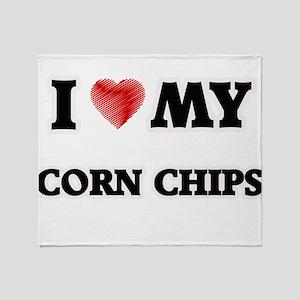 I Love My Corn Chips food design Throw Blanket