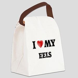 I Love My Eels food design Canvas Lunch Bag