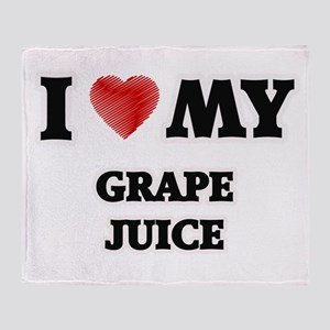 I Love My Grape Juice food design Throw Blanket