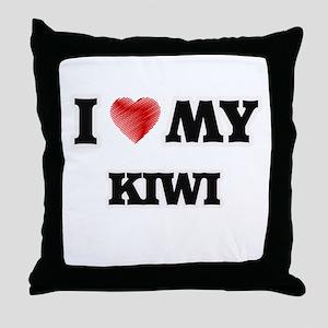 I Love My Kiwi food design Throw Pillow