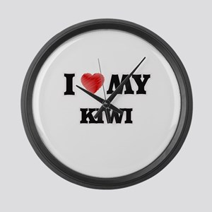I Love My Kiwi food design Large Wall Clock