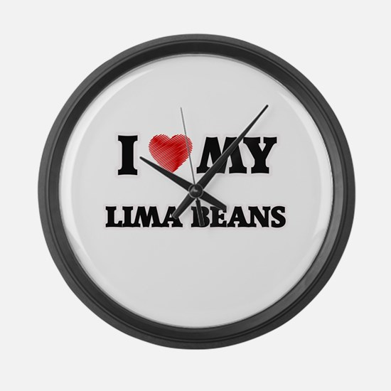 I Love My Lima Beans food design Large Wall Clock