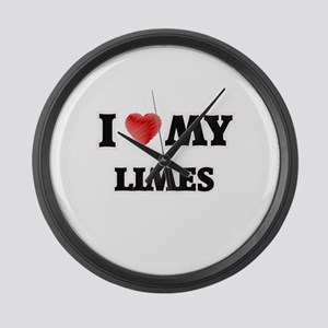 I Love My Limes food design Large Wall Clock