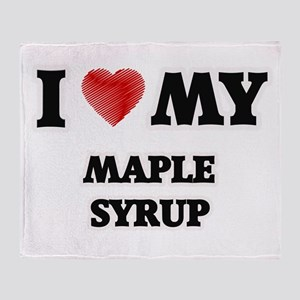 I Love My Maple Syrup food design Throw Blanket