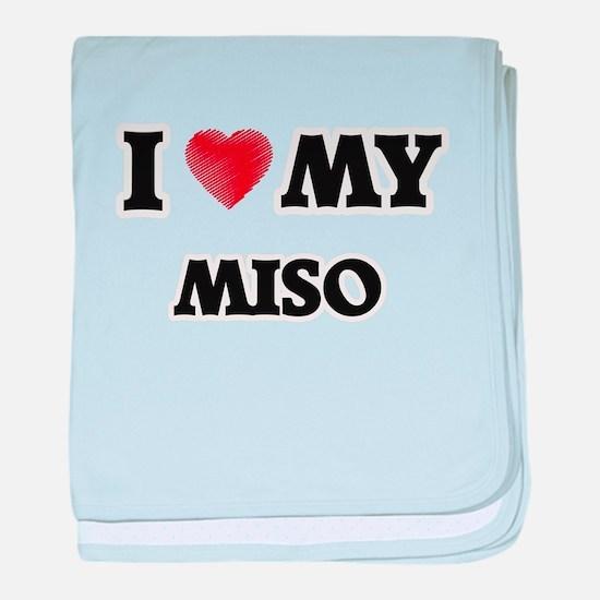 I Love My Miso food design baby blanket