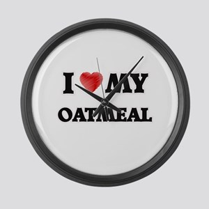 I Love My Oatmeal food design Large Wall Clock