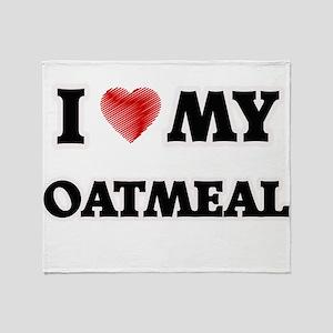 I Love My Oatmeal food design Throw Blanket