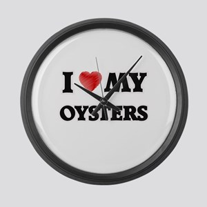 I Love My Oysters food design Large Wall Clock