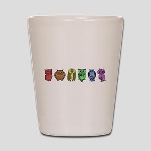 Rainbow Owls Shot Glass