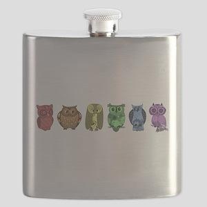 Rainbow Owls Flask