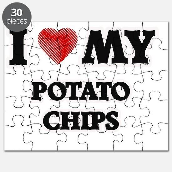 I Love My Potato Chips food design Puzzle