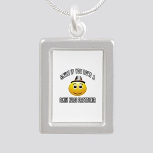 Smile If You Love Family Silver Portrait Necklace