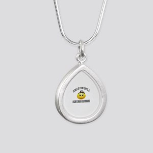 Smile If You Love Family Silver Teardrop Necklace