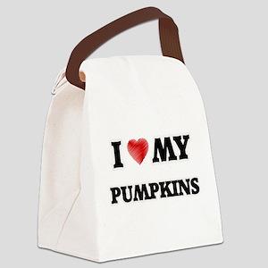 I Love My Pumpkins food design Canvas Lunch Bag
