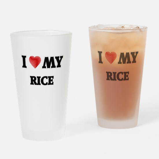 I Love My Rice food design Drinking Glass
