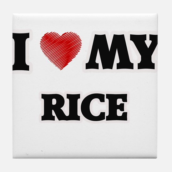I Love My Rice food design Tile Coaster