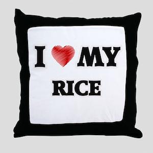 I Love My Rice food design Throw Pillow