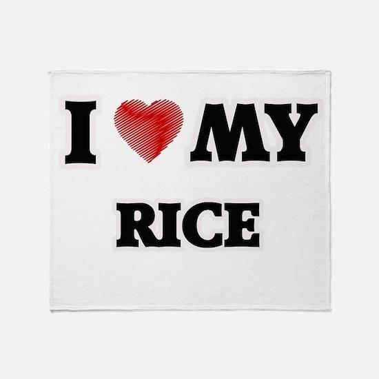 I Love My Rice food design Throw Blanket