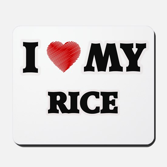 I Love My Rice food design Mousepad
