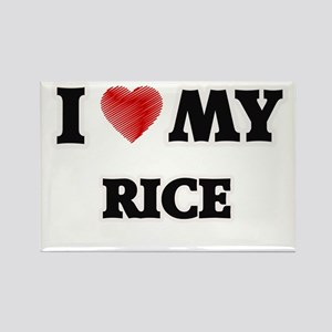 I Love My Rice food design Magnets