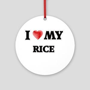 I Love My Rice food design Round Ornament