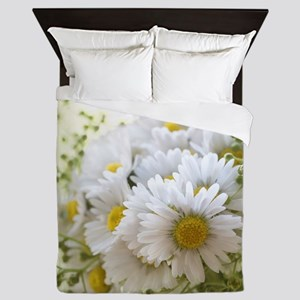 Bouquet of daisies in LOVE Queen Duvet