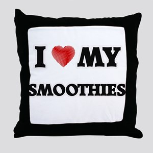 I Love My Smoothies food design Throw Pillow