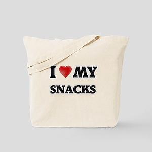 I Love My Snacks food design Tote Bag