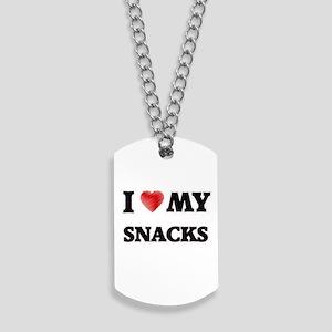 I Love My Snacks food design Dog Tags