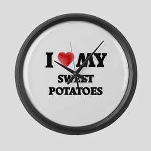 I Love My Sweet Potatoes food des Large Wall Clock