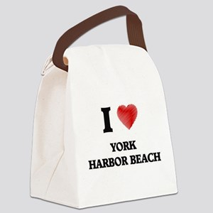 I love York Harbor Beach Maine Canvas Lunch Bag