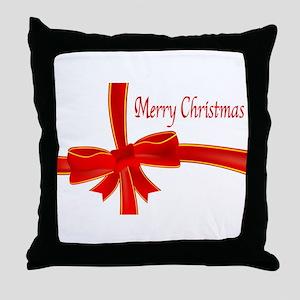 Merry Christmas Ribbon Throw Pillow