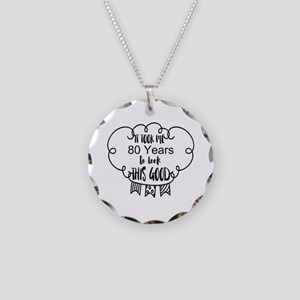 80th birthday Necklace Circle Charm