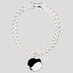Kiwi Silhouette Charm Bracelet, One Charm