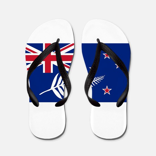 New Zealand Flag With Silver Fern Flip Flops