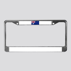 New Zealand Flag With Silver F License Plate Frame