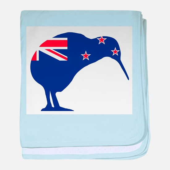 New Zealand Flag With Kiwi SIlhouette baby blanket