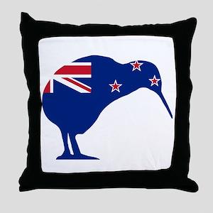 New Zealand Flag With Kiwi SIlhouette Throw Pillow
