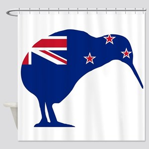 New Zealand Flag With Kiwi SIlhouet Shower Curtain