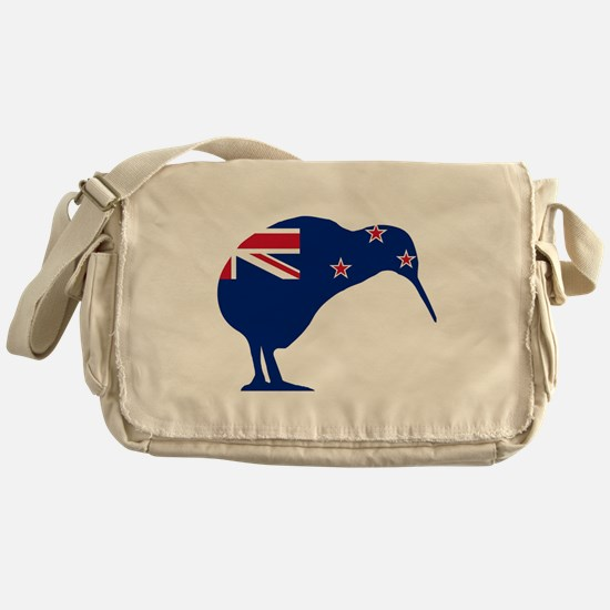New Zealand Flag With Kiwi SIlhouett Messenger Bag