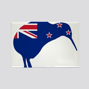 New Zealand Flag With Kiwi SIlhouette Magnets
