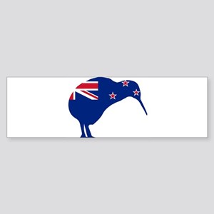 New Zealand Flag With Kiwi SIlhouet Bumper Sticker