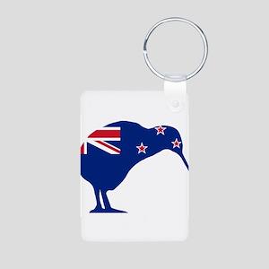 New Zealand Flag With Kiwi SIlhouette Keychains
