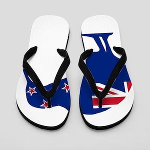 New Zealand Flag With Kiwi SIlhouette Flip Flops