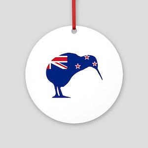 New Zealand Flag With Kiwi SIlhouet Round Ornament
