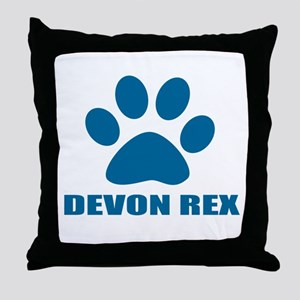Devon Rex Cat Designs Throw Pillow