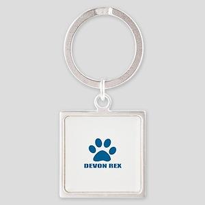 Devon Rex Cat Designs Square Keychain