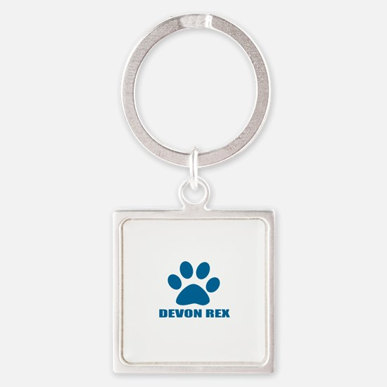 Devon Rex Cat Designs Square Keychain
